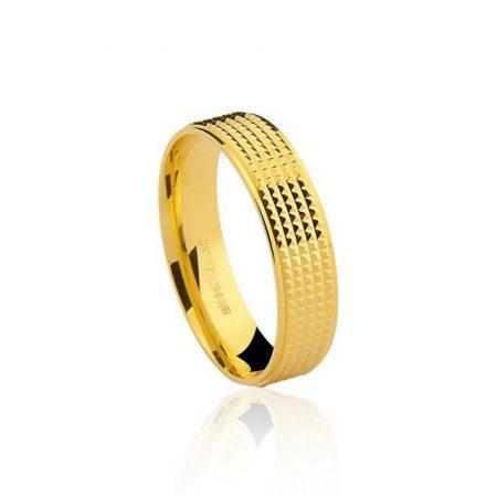 Aliança anatômica em ouro amarelo 18K-750 trabalhado - Cod.75-0241-2-000