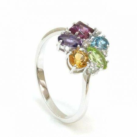 Anel-em-ouro-branco-18K-750-6-Diamantes-4pts-e-pedras-coloridas-naturais-com-143pts-Cod.14-3184-1-522