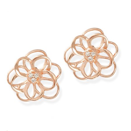 Brinco flor ouro Rose com diamantesCB3562