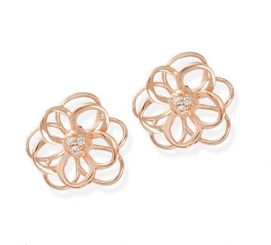 Brinco flor ouro Rose com diamantesCB3562