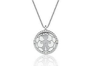 Colar Menina em ouro branco 18K-750 com 4 Diamantes com 2pts - Cod.06-1354-1-002