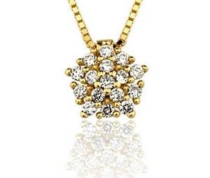 Colar em ouro amarelo 18K-750 com 16 Diamantes com 13pts - Cod.06-1096-2-013