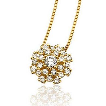 Colar em ouro amarelo 18K-750 com 25 Diamantes com 29pts - Cod.06-1121-2-029
