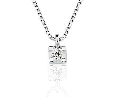 Colar em ouro branco 18K-750 com 1 Diamante de 5pts - Cod.06-0568-1-005