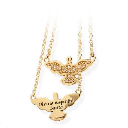 Gargantilha dois espíritos santos com diamantes CG2325