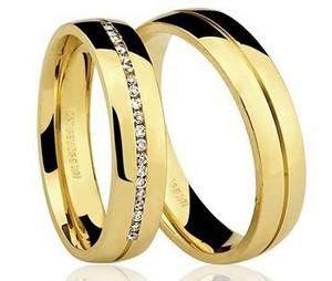 Par de Alianças anatômicas em ouro amarelo 18K-750 com 20 Diamantes com 14pts - Cod.77-0190-2-014