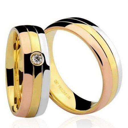 Par de Alianças anatômicas em ouro branco amarelo e Rosé 18K-750 com 1 Diamante de 5pts - Cod.77-0143-4-005