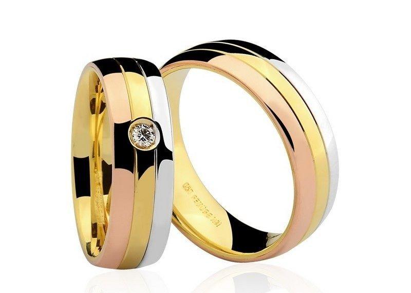 38f05bbcbc125 Par de Alianças anatômicas em ouro branco amarelo e Rosé 18K-750 com 1  Diamante