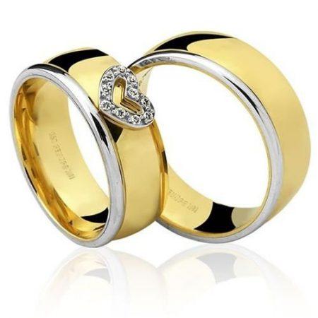 Par de Alianças anatômicas em ouro branco e amarelo 18K-750 com 10 Diamantes com 6pts - Cod.77-0237-4-006