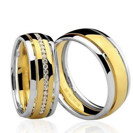 Par de Alianças anatômicas em ouro branco e amarelo 18K-750 com 20 Diamantes com 16 pts - Cod.77-0245-4-016