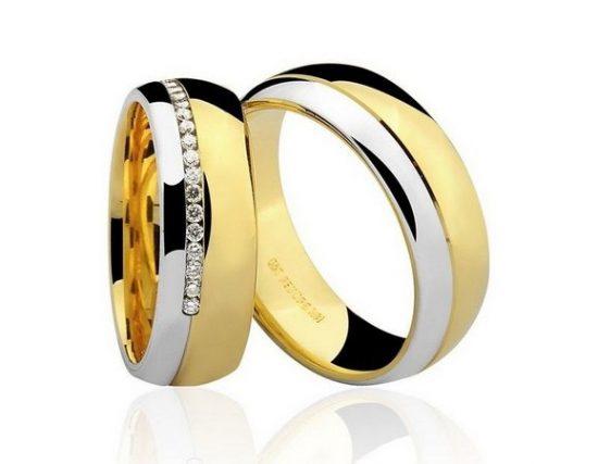 Par de Alianças anatômicas em ouro branco e amarelo 18K-750 com 20 Diamantes com 18pts - Cod.77-0249-4-018