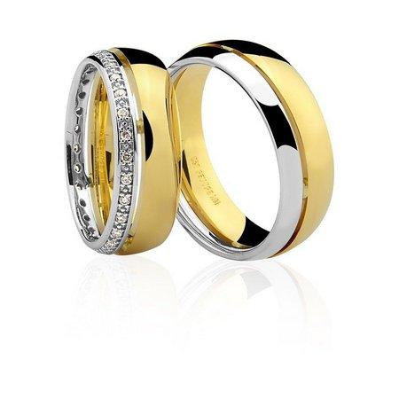 Par de Alianças anatômicas em ouro branco e amarelo 18K-750 com 28 Diamantes com 17pts - Cod.77-0248-4-017