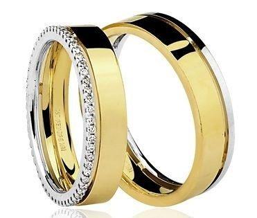 Par de Alianças anatômicas em ouro branco e amarelo 18K-750 com 52 Diamantes com 31pts - Cod.77-0220-4-034