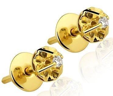 Par de Brincos Infantis em ouro amarelo 18K-750 com 2 Diamantes com 6pts - Cod.02-0009-2-006