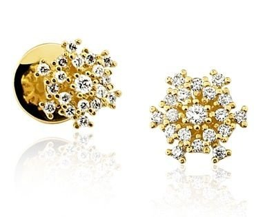 Par de Brincos em ouro amarelo 18K-750 com 38 Diamantes com 35pts - Cod.02-2981-2-035