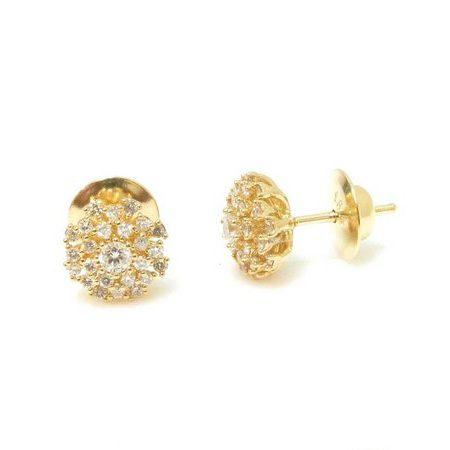 Par de Brincos em ouro amarelo 18K-750 com 50 Diamantes com 57pts - Cod.02-3009-2-057