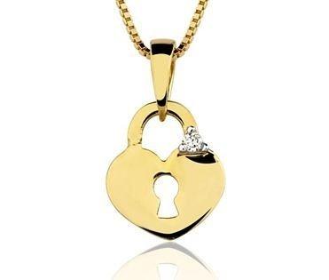 Pingente Coração em ouro amarelo 18K-750 com 1 Diamante de 1pt - Cod.05-1242-2-001
