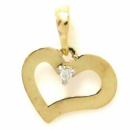 Pingente Coração em ouro amarelo 18K-750 com 1 Diamante de 1pt - Cod.05-1247-2-001