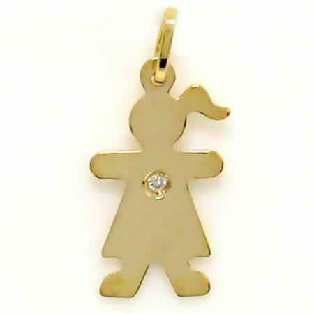 Pingente Menina em ouro amarelo 18K-750 com 1 Diamante de 1pt - Cod. 05-0548-2-001