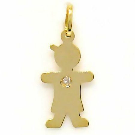 Pingente Menino em ouro amarelo 18K-750 com 1 Diamante de 1p - Cod.05-0549-2-001