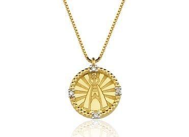 Pingente Nossa Senhora em ouro amarelo 18K-750 com 4 Diamante com 2pts - Cod.06-1351-2-002