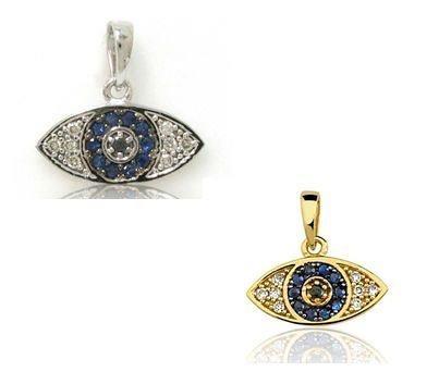 Pingente Olho Grego ouro branco ou amarelo 18K-750 9 Diamantes 6pts e 10 Safiras 6pts - Cod.05-1268-X-702