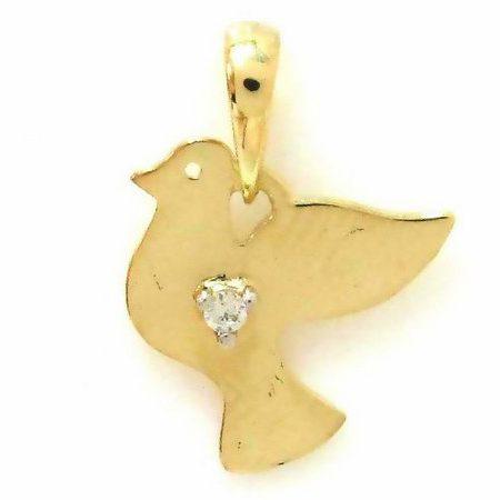 Pingente Pomba em ouro amarelo 18K-750 com 1 Diamante de 1pt - Cod.05-1241-2-001