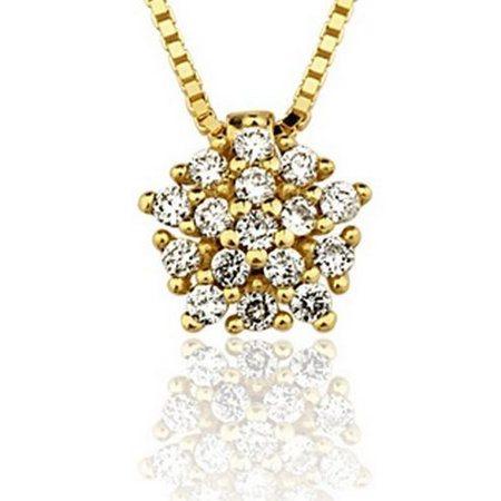 Pingente em ouro amarelo18K-750 com 16 Diamantes com 13pts- Cod.06-1096-2-013-Ps