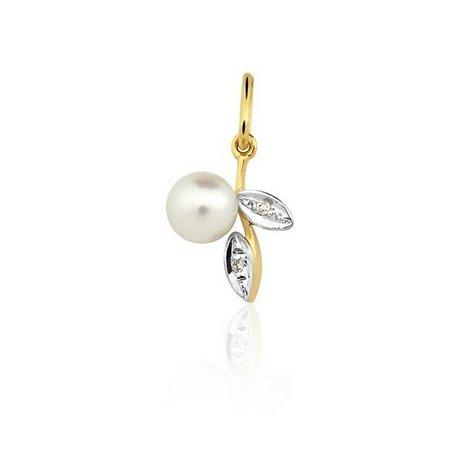 Pingente em ouro branco e amarelo 18K-750 com 2 Diamantes em 2pts e 1 Pérola - Cod. 05-0097-2-911