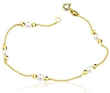 Pulseira Infantil em ouro amarelo 18K-750 com 5 Pérolas 20-0025-2-907