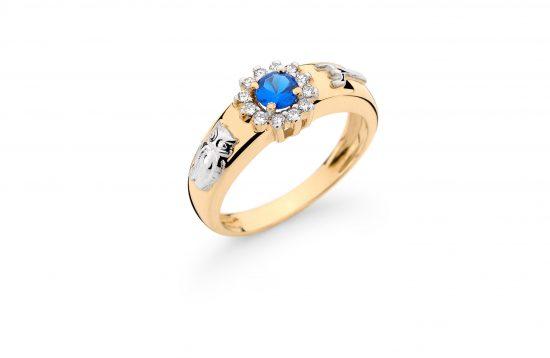 Anel Formatura em ouro 18k-750 com diamantes - 160009br