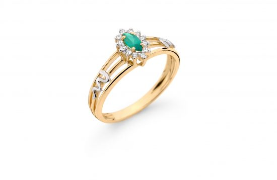 Anel Formatura em ouro 18k-750 com diamantes - 160010br