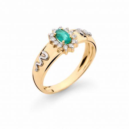 Anel Formatura em ouro 18k-750 com diamantes - 160013br