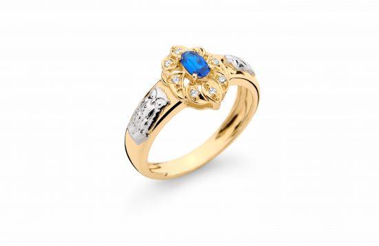 Anel Formatura em ouro 18k-750 com diamantes - 160017br