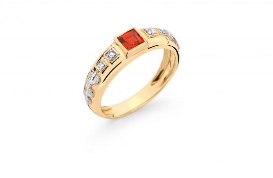 Anel Formatura em ouro 18k-750 com diamantes - 160028br