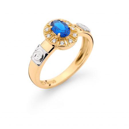 Anel Formatura em ouro 18k-750 com diamantes -160040br