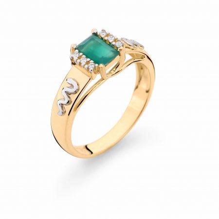 Anel Formatura em ouro 18k-750 com diamantes -160041br