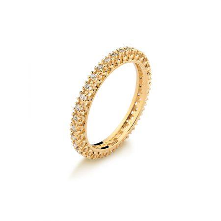 Aliança completa em ouro amarelo 18k-750 com diamantes - 0101012032Br