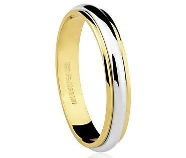Aliança em ouro amarelo 18k-750 detlhe em ouro branco