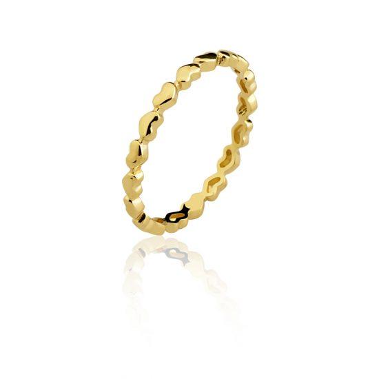 Anel aparador corações em ouro amarelo 18k-750 - 0100812000Br