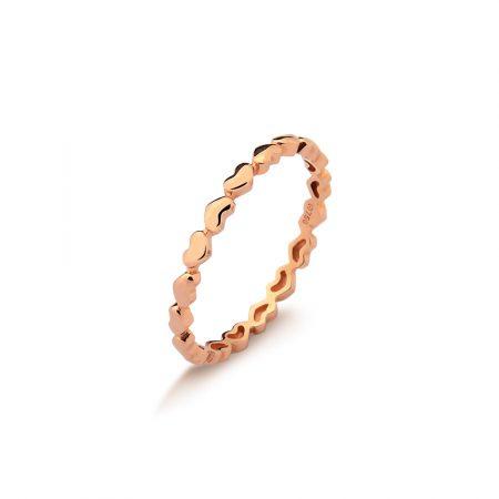Anel aparador corações em ouro rosé 18k-750 - 0100813000Br