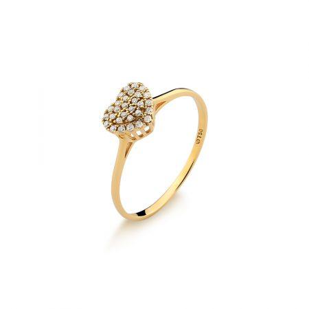 Anel coração em ouro amarelo 18k-750 com diamantes - 0300522013Br