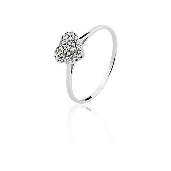 Anel coração em ouro branco 18k-750 com diamantes - 0300521013Br