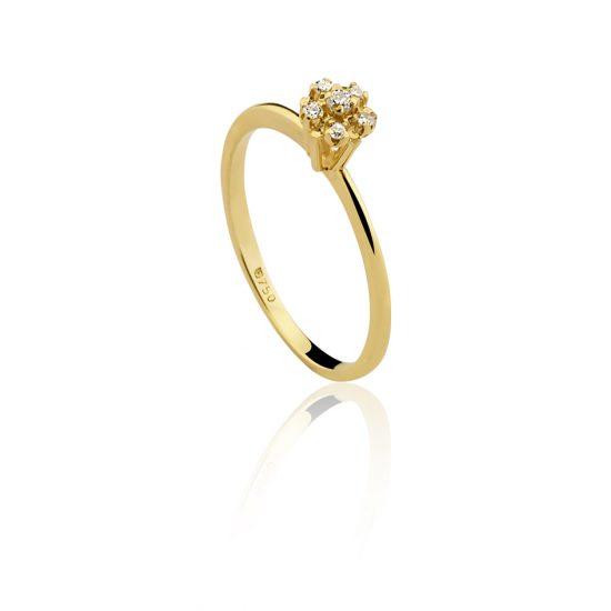 Anel em ouro amarelo 18k-750 com diamantes - 0300292007Br