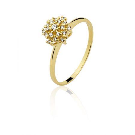 Anel em ouro amarelo 18k-750 com diamantes - 0300402017Br