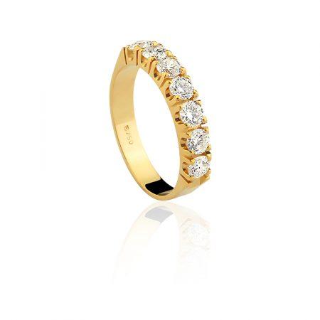 Meia aliança em ouro amarelo 18k-750 com diamantes - 0100022091Br