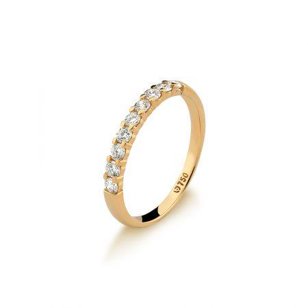 Meia aliança em ouro amarelo 18k-750 com diamantes - 0100792045Br