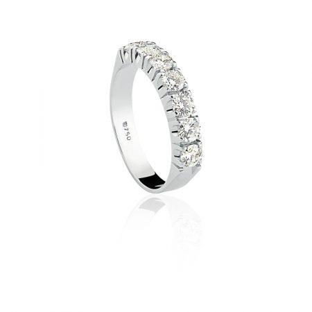 Meia aliança em ouro branco com diamantes - AN0100021091BR