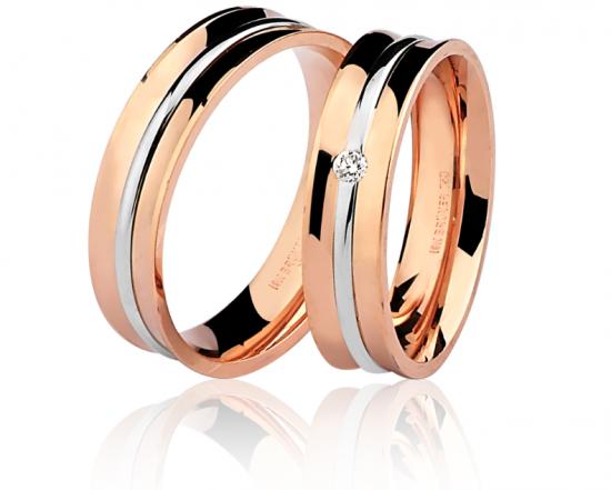 Par Alianças em ouro rosê 18k-750 com 1 diamante - 7502029000_7602029005Br