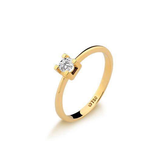Solitário em ouro amarelo 18k-750 com diamante - 0800582020Br